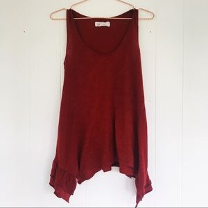Anthropologie Rust Red asymmetrical tank size XS